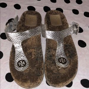 Tory Burch Women's Silver Leather Sandals